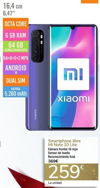 Oferta de Smartphone libre Mi Note 10 Lite por 259€