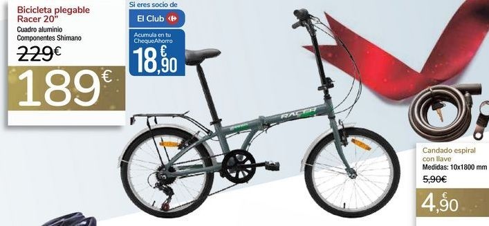 Oferta de Bicicleta pegable Racer 20'' por 189€