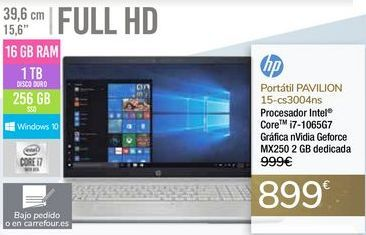 Oferta de Portátil PAVILION 15-cs3004ns HP por 899€