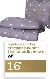 Oferta de Edredón microfibra estampado para cama, convertible en cojín  por 16€