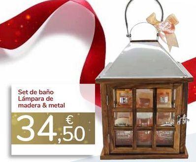 Oferta de Set de baño Lámpara de madera & metal  por 34,5€