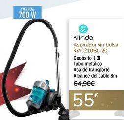 Oferta de Aspirador sin bolsa KVC210BL-20 Klindo por 55€