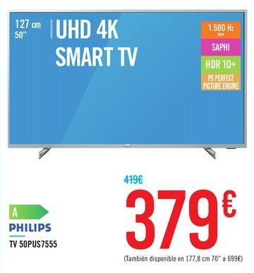 Oferta de TV 50PUS7555 PHILIPS por 379€