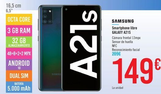 Oferta de Smartphone libre GALAXY A21S SAMSUNG por 149€