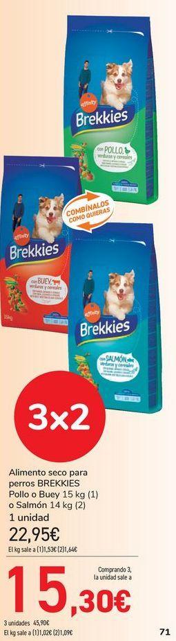 Oferta de Alimento seco para perros BREKKIES pollo o Buey o Salmón  por 22,95€
