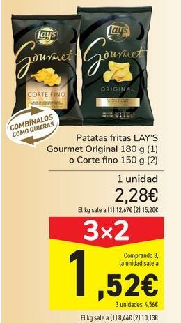 Oferta de Patatas fritas LAY'S Gourmet Original o Cortte Fino por 2,28€