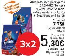 Oferta de Alimento seco para gatos BREKKIES Ternera, y verduras o salmón, atún y verduras o esterilizados  por 7,95€