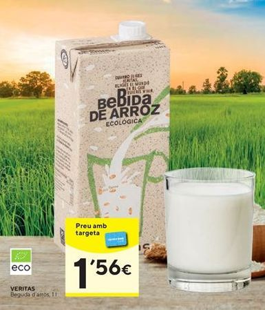 Oferta de Bebida de arroz Veritas por 1,56€