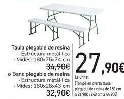 Oferta de Mesa plegable de resina o Banco plegable de resina  por 27,9€