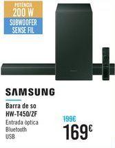 Oferta de Barra de sonido HW-T450/ZF SAMSUNG por 169€
