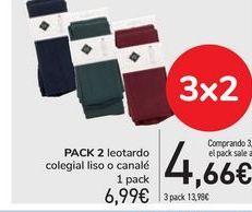 Oferta de PACK 2 Leotardos colegial liso o canalé  por 6,99€