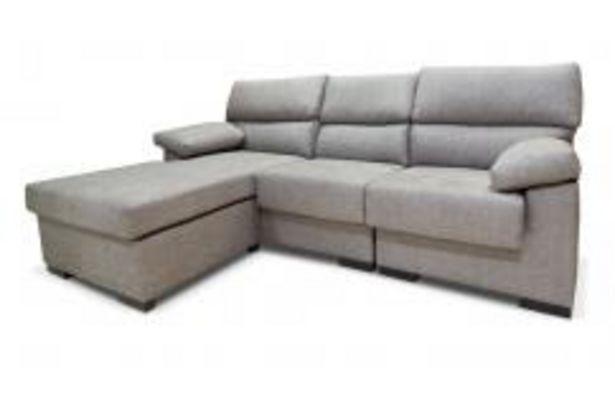 Oferta de Sofá 3 plazas con chaiselongue reversible en gris claro por 389,99€