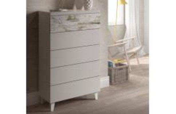 Oferta de Cómoda 5 cajones color blanco por 109,99€
