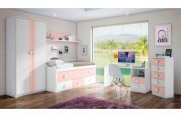 Oferta de Dormitorio juvenil en color blanco y rosa por 349,99€