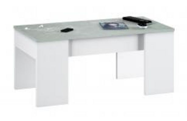 Oferta de Mesa de centro elevable en color blanco y gris cemento por 72,99€