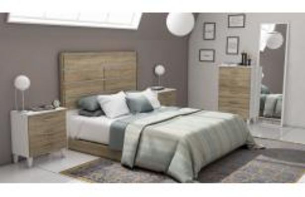 Oferta de Dormitorio de matrimonio en roble cambrian y blanco poro por 399,99€
