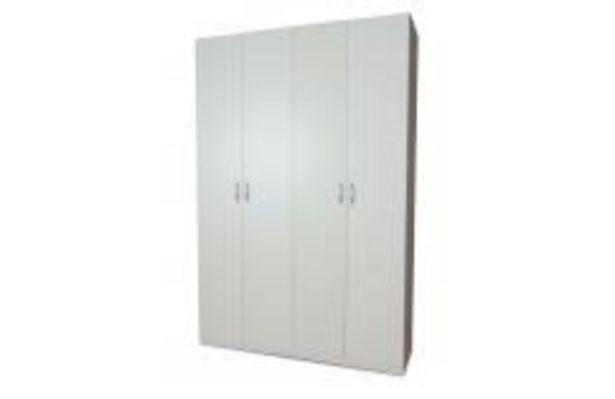 Oferta de Armario 4 puertas blanco de gran capacidad por 193,99€