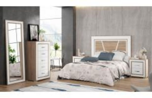 Oferta de Dormitorio de matrimonio en color blanco y roble cambrian por 499,99€