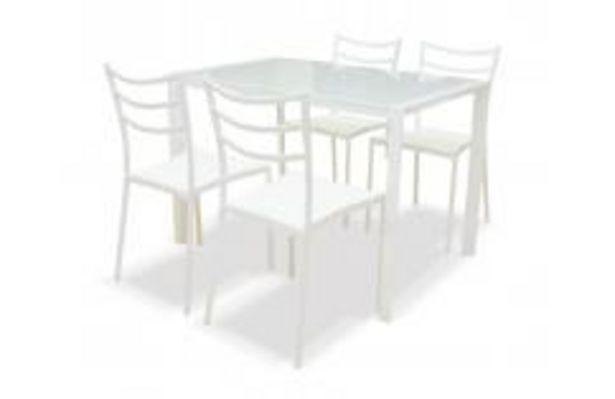 Oferta de Juego de mesa metálica + 4 sillas en blanco por 179,99€
