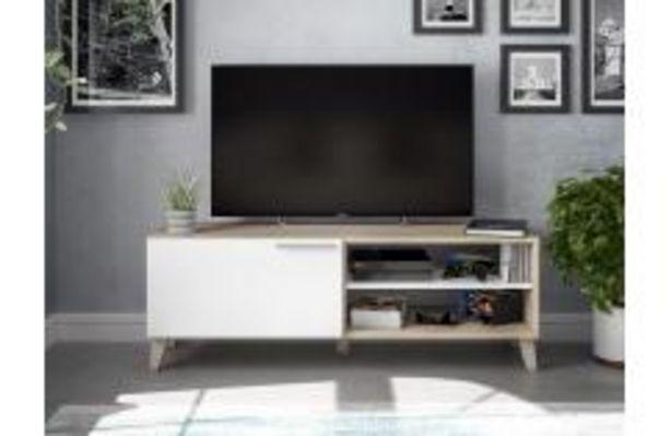 Oferta de Mesa TV en color blanco brillo y roble canadian por 74,99€