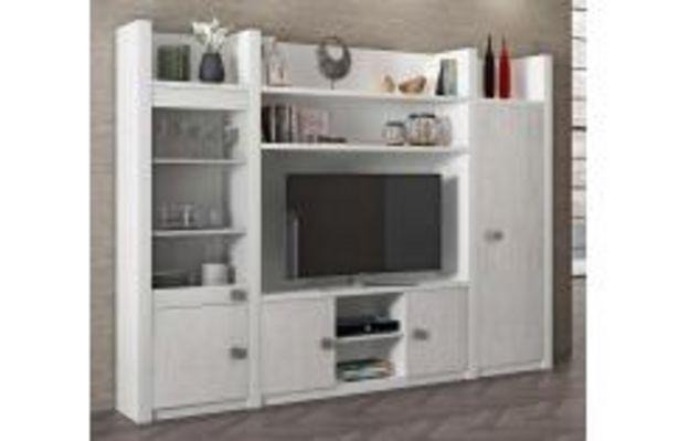 Oferta de Elegante composición de salón en blanco y frentes en gris por 399,99€