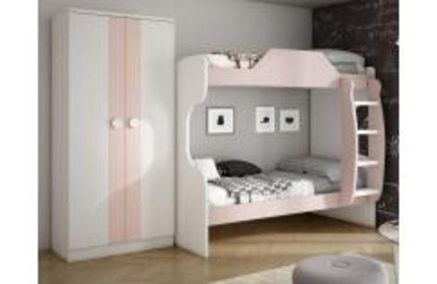 Oferta de Dormitorio juvenil con litera en blanco y rosa por 269,99€