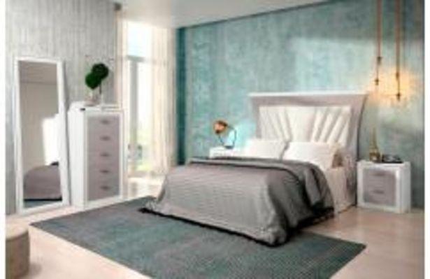 Oferta de Dormitorio de matrimonio tapizado en color blanco y gris por 699,99€