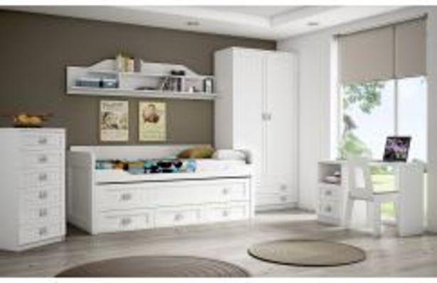 Oferta de Elegante dormitorio juvenil en blanco rayado por 74,99€