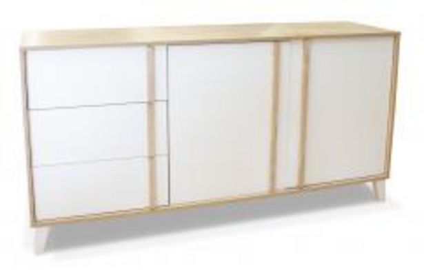 Oferta de Aparador de estilo nórdico en blanco y roble por 169,99€