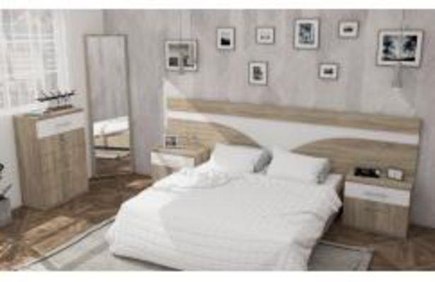 Oferta de Dormitorio de matrimonio en color roble cambrian y blanco poro por 369,99€