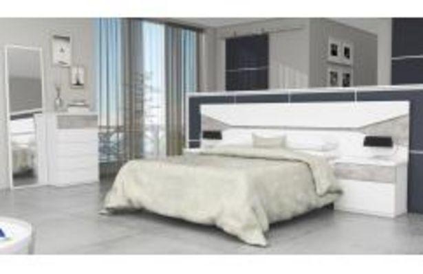 Oferta de Dormitorio de matrimonio en color blanco poro y gris pozzolana por 359,99€