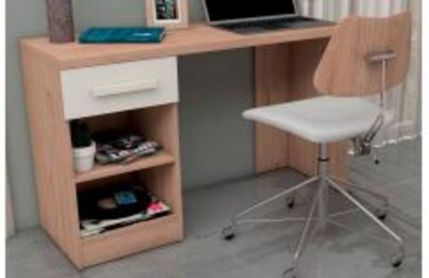 Oferta de Mesa de estudio en color roble y blanco poro por 99,99€
