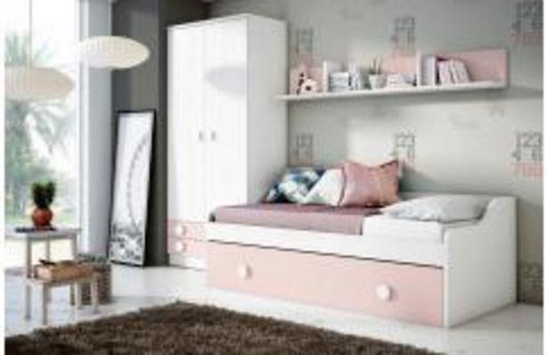 Oferta de Dormitorio juvenil en blanco poro y rosa por 369,99€