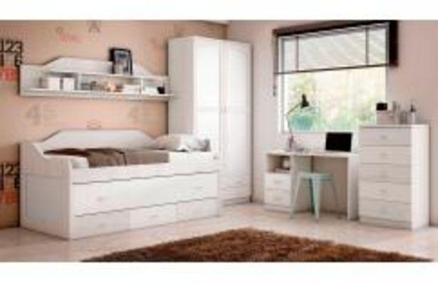 Oferta de Dormitorio juvenil en color blanco y gris suave por 389,99€