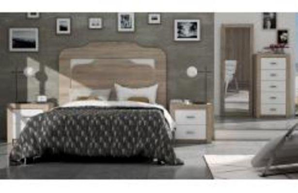 Oferta de Elegante dormitorio de matrimonio en color roble cambrian y blanco poro por 449,99€
