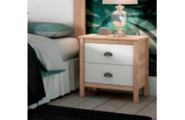 Oferta de Mesita con 2 cajones en color blanco poro y roble cambrian por 74,99€