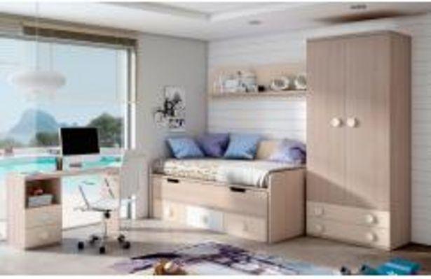 Oferta de Domitorio juvenil de cama compacta en color olmo y sahara por 459,99€