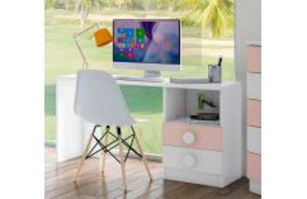 Oferta de Mesa estudio juvenil blanco y rosa por 129,99€