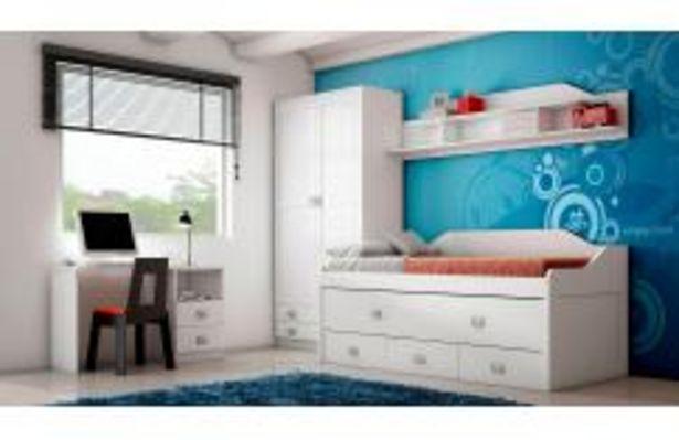 Oferta de Dormitorio juvenil con cama compacta en color blanco por 379,99€