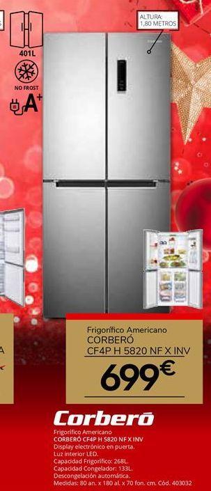 Oferta de Frigorífico americano Corberó por 699€