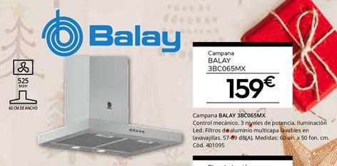 Oferta de Campanas extractoras Balay por 159€