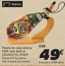 Oferta de Paleta de cebo ibérica 50% raza ibérica LEGADO EL POZO por 49€