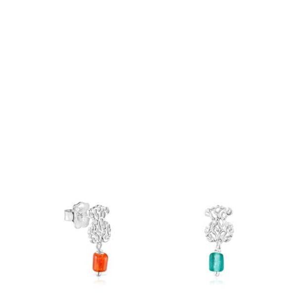 Oferta de Pendientes oso de plata y glass naranja-azul Oceaan por 65€