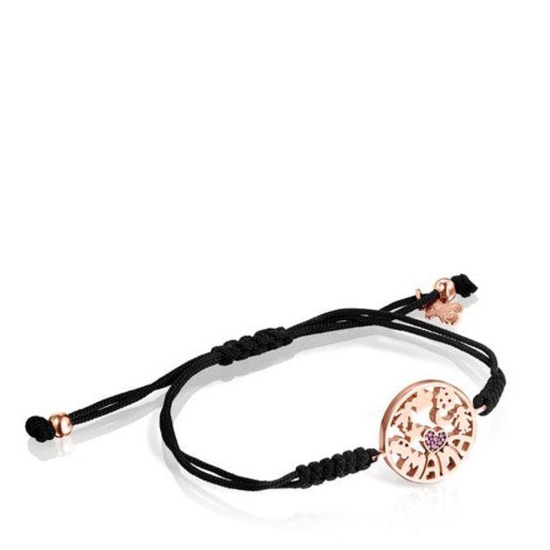 Oferta de Pulsera TOUS Mama de Plata Vermeil rosa con Rubí y Cordón negro por 57€