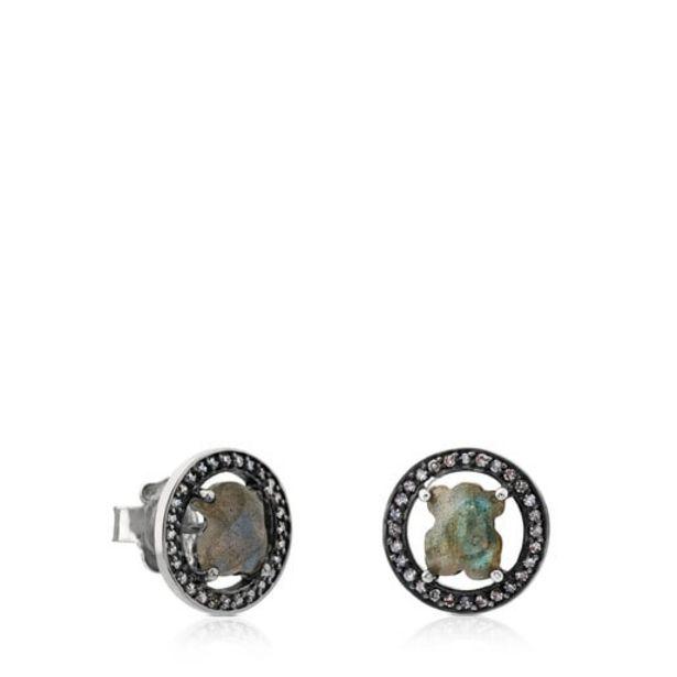 Oferta de Pendientes de plata pavonada con labradorita y diamante Camille por 156€