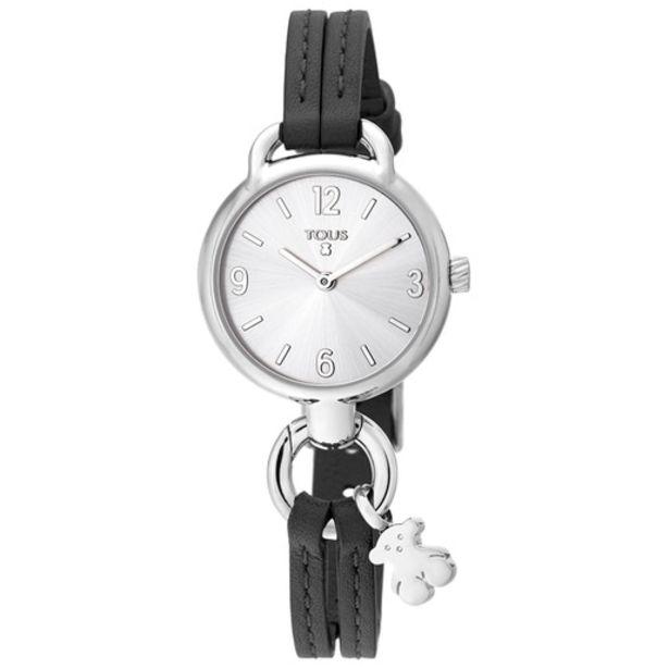 Oferta de Reloj Hold de acero con correa de piel negra por 95€