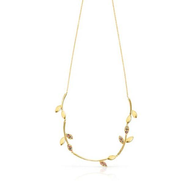 Oferta de Collar de plata vermeil con gemas Real Mix Leaf por 159€