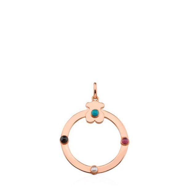 Oferta de Colgante mediano de plata vermeil rosa con gemas Super Power por 71€