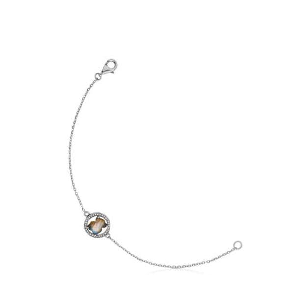 Oferta de Pulsera de plata pavonada con labradorita y diamante Camille por 105€