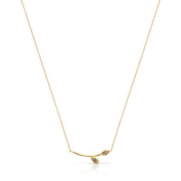 Oferta de Collar de plata vermeil con gemas Real Mix Leaf por 89€
